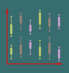 flat icon on stylish background economic chart vector image