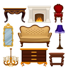Flat set of vintage furniture antique sofa vector