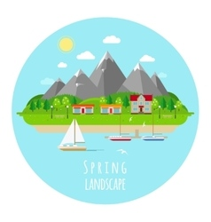 Flat spring landscape with green vector