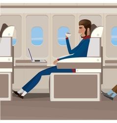Flight in business class vector