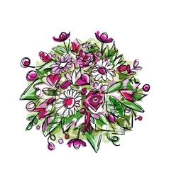 Floral bouquet sketch for your design vector