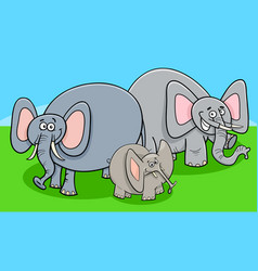 funny elephants cartoon character group vector image