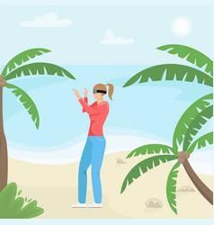 girl with virtual reality glasses virtual vector image