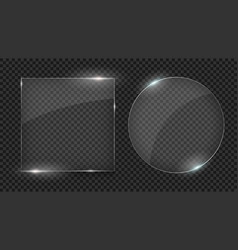 glass plates set different shapes glass vector image