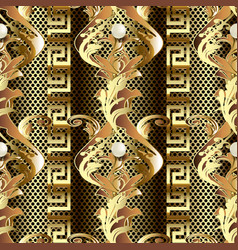 Gold baroque 3d seamless pattern vintage antique vector
