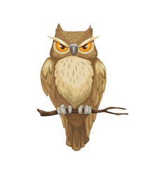 Halloween bird owl on branch icon vector