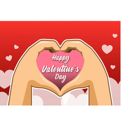 hand shaped heart valentine greeting card vector image