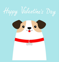 Happy valentines day dog face head white puppy vector