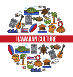 hawaiian culture traveling hawaii country symbols vector image