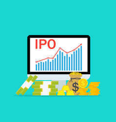 ipo public stock stock market initial public vector image