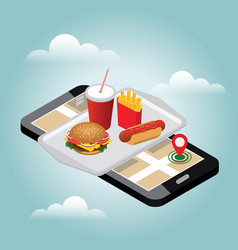 Isometric hamburguer hot-dog with coke soda with vector