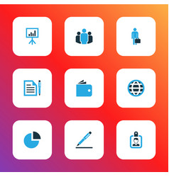 job icons colored set with contract circle graph vector image