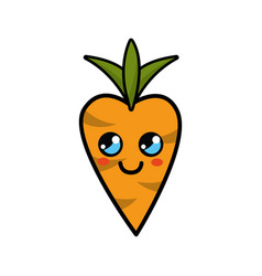 kawaii cute thinking carrot vegetable vector image