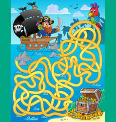 maze 1 with pirate and treasure vector image