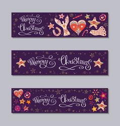 merry christmas horizontal banners set vector image