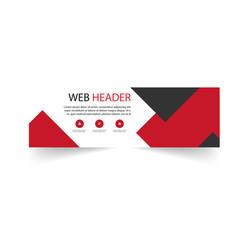 modern web header design template black red backgr vector image