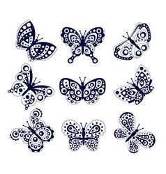 monochrome butterflies collection black winged vector image