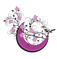 moon with bird and flourishes vector image