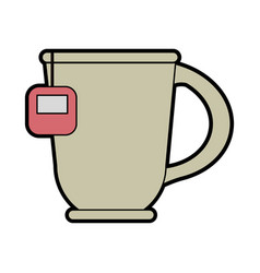 mug with tea bag icon image vector image