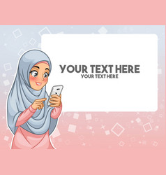 Muslim woman hand touching a smart phone vector