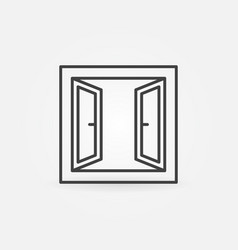 opened window icon symbol in thin line vector image
