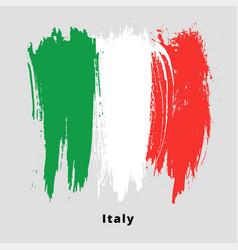 painted grunge italian flag brush strokes vector image