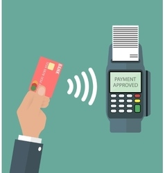 Payments using terminal and debit credit card vector