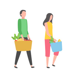 people shopping buy products isolated man woman vector image