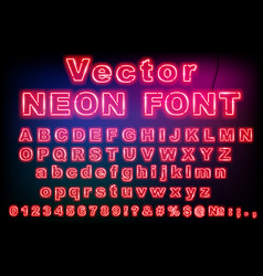 pink retro neon font luminous letter glow effect vector image