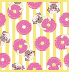 pink seamless pattern with funny french bulldog vector image