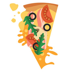 pizza with bacon and vegetablesprint vector image