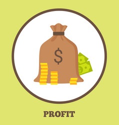 Profit promo logotype with bag money and coins vector