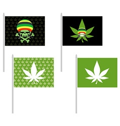 Rasta flags set banner for addicts of jamaica vector