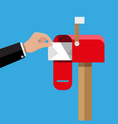 Red opened mailbox with regular mail inside vector