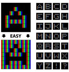 RGB pixel font alphabet vector
