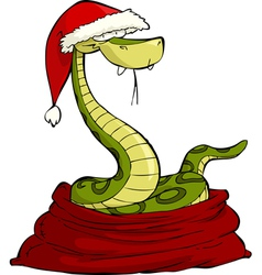 santa snake in the bag vector image