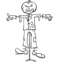 scarecrow cartoon for coloring book vector image