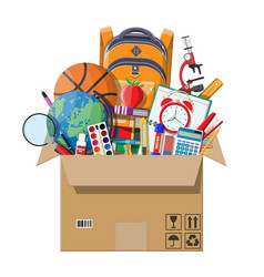 school items in cardboard box vector image