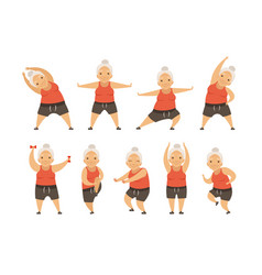 senior woman doing morning exercises active and vector image