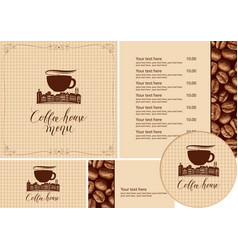 Set design elements for coffee house with old vector