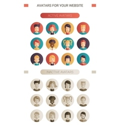 set isolated flat design people icon avatars vector image
