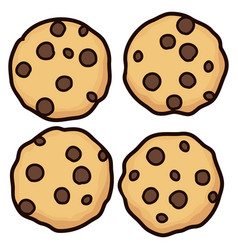 Set of chocolate chip whole cookies vector