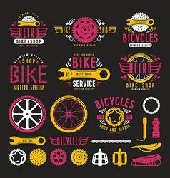 set vintage bike shop labels vector image