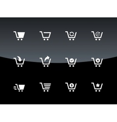 Shopping cart icons on black background vector image