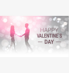 Silhouette couple holding hands over glittering vector
