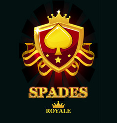 spades royale in red shield casino banner with vector image
