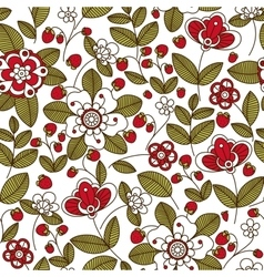 Strawberry with flowers seamless pattern vector image