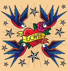 swallow star swallow tattoo swallow heart rose vector image