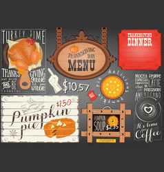 thanksgiving day menu vector image
