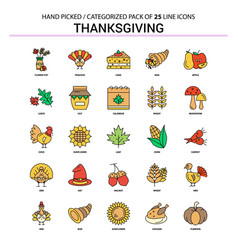 thanksgiving flat line icon set - business vector image